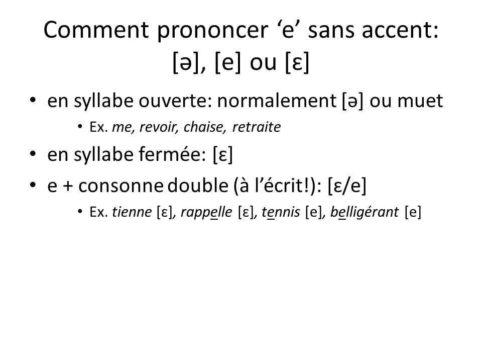 Comment prononcer 'e' sans accent: [ə], [e] ou [ɛ]